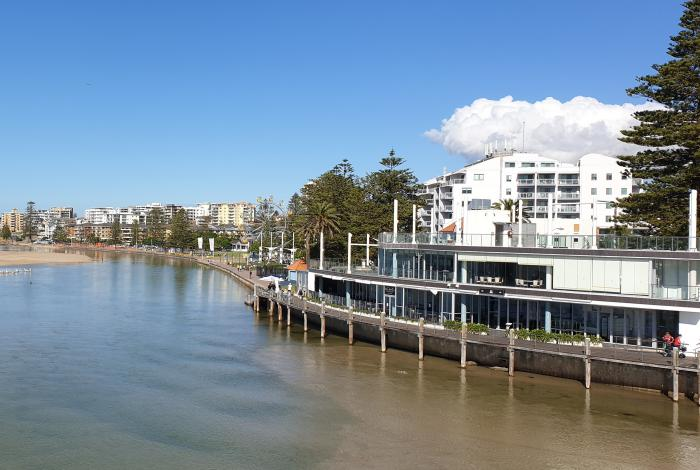 Photo of the Entrance taken from the bridge looking over the water towards the town centre and memorial park