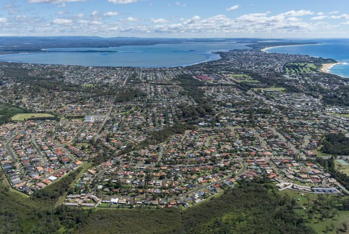 Aerial photo of Tuggerah Lakes developed southern shore